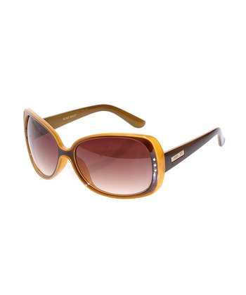 Brown & Yellow Oval Sunglasses