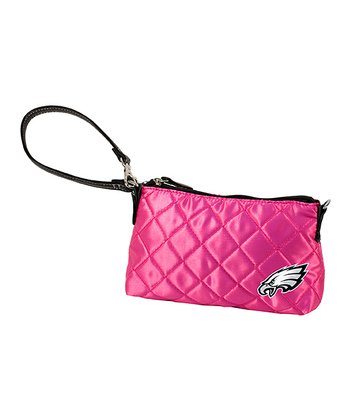 Pink Quilted Philadelphia Eagles Wristlet