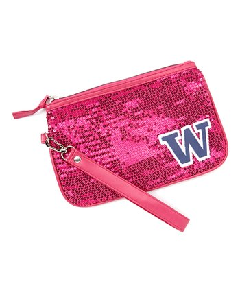 Washington Huskies Neon Pink Sequin Wristlet