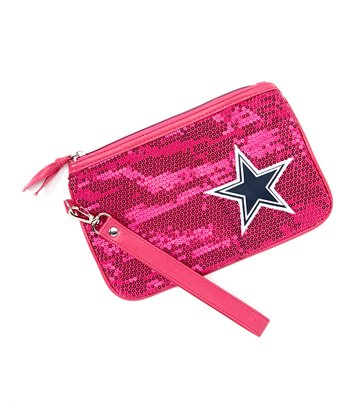 Neon Pink Sequin Dallas Cowboys Wristlet
