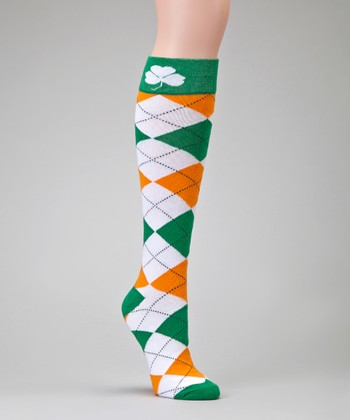 Green & Orange Argyle Socks