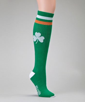 Green & White Tube Socks