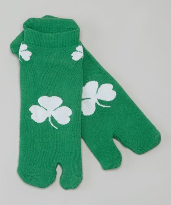 Green & White Flip-Flop Footie Socks