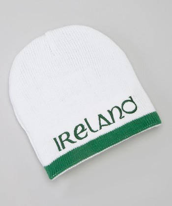 White 'Ireland' Reversible Knit Hat