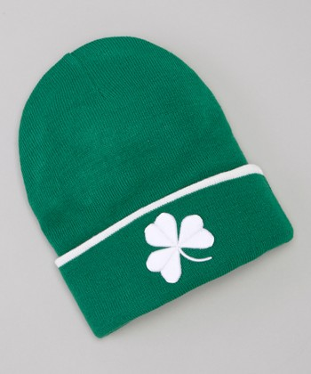 Green Shamrock Cuffed Knit Hat