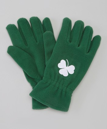 Green Shamrock Fleece Gloves
