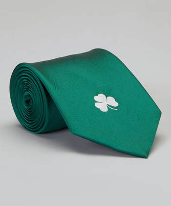 Green Silk Single Shamrock Tie