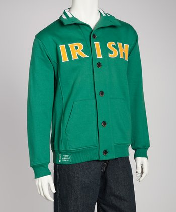 Green 'Irish' Button Collar Sweatshirt