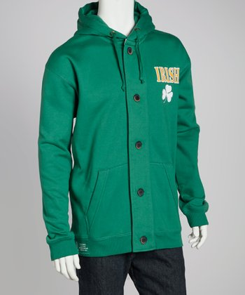Green 'Irish' Button Hoodie