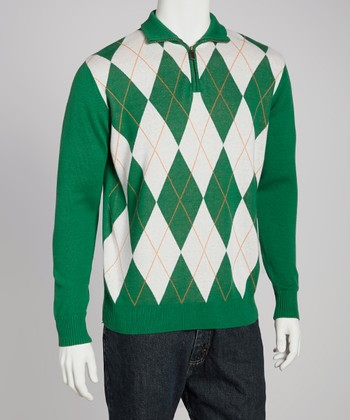 Green & White Argyle Sweater