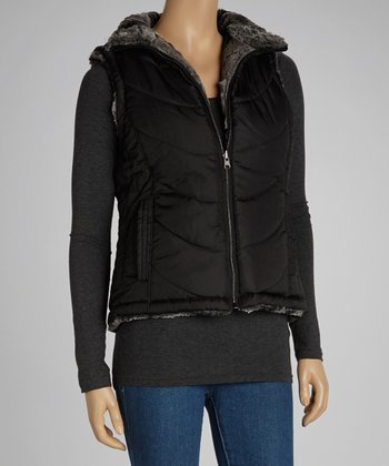 Black Reversible Puffer Vest - Women