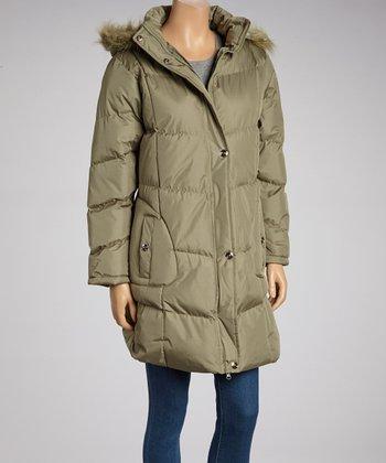 Olive Long Puffer Coat