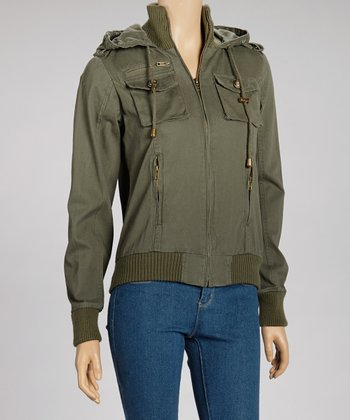 Olive Hooded Bomber Jacket