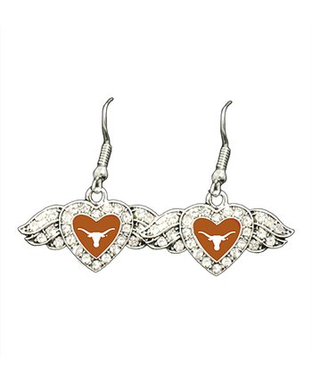 Texas Longhorns Winged Heart Drop Earrings - Women