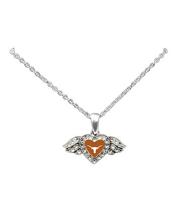 Texas Longhorns Winged Heart Pendant Necklace - Women