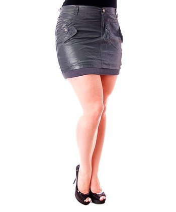 Charcoal Faux Leather Miniskirt - Plus