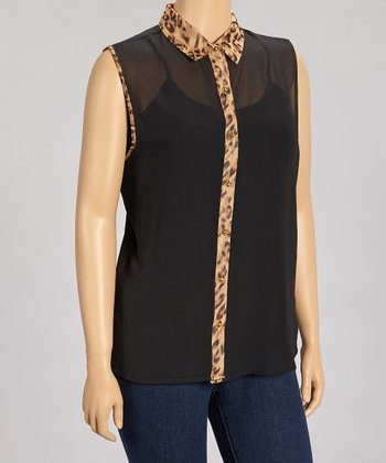 Black Leopard Sleeveless Chiffon Button-Up - Plus