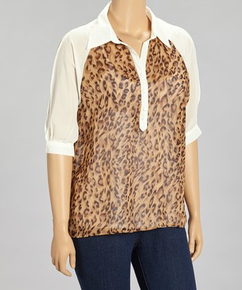 White & Brown Leopard Chiffon Button-Up Top - Plus