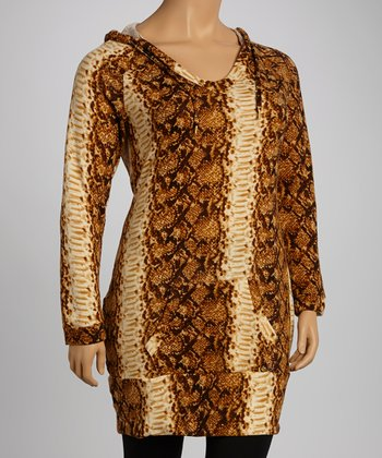 Bronze Snakeskin Hooded Sweater Dress - Plus