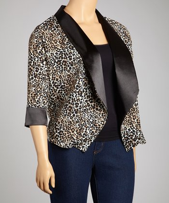 Black & Brown Leopard Open Cardigan - Plus