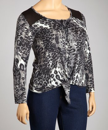 Black & Gray Leopard Tie Cardigan - Plus