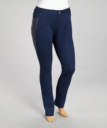 Indigo Wash Studded Skinny Jeans - Plus