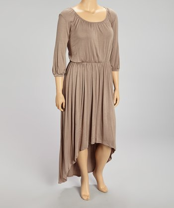 Mocha Ruched Blouson Hi-Low Dress - Plus