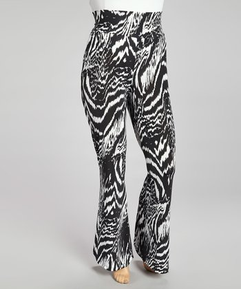 Black & White Zebra Palazzo Pants - Plus