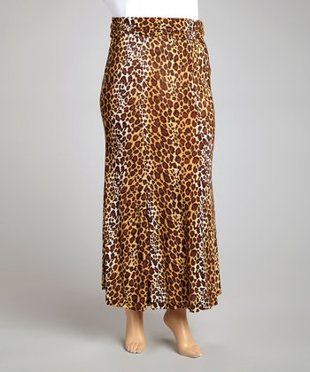 Brown Leopard Maxi Skirt - Plus