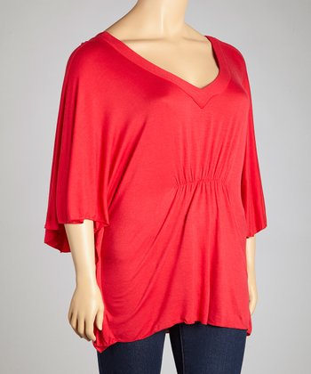 Red Cape-Sleeve Top - Plus