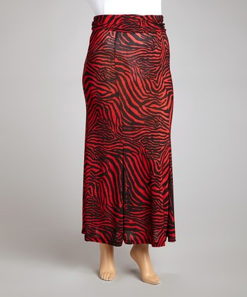Red & Black Zebra Maxi Skirt - Plus