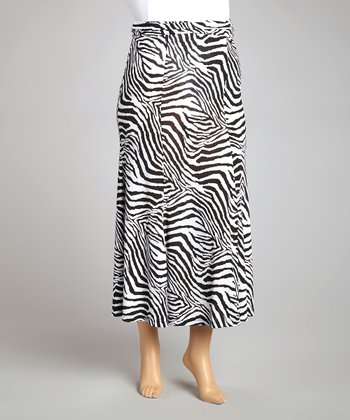 Black & White Zebra Maxi Skirt - Plus