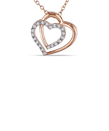 Diamond & Pink Rhodium Double Heart Pendant Necklace