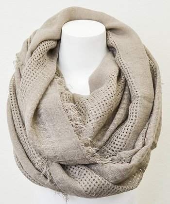 Leto Collection Mocha Open Grid Infinity Scarf