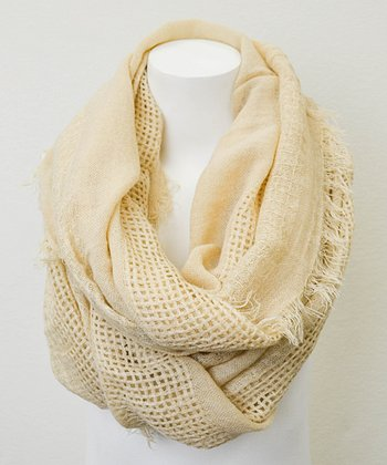 Leto Collection Oatmeal Open Grid Infinity Scarf