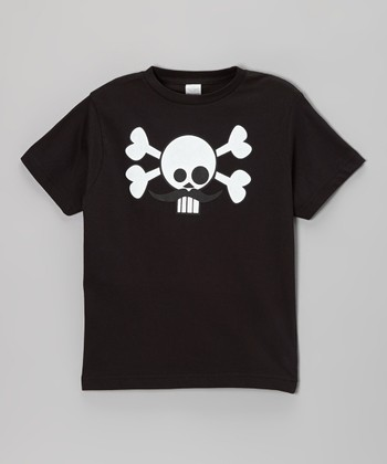 Black Skully Stache Tee - Infant, Toddler & Boys