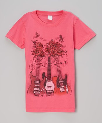Hot Pink Rock 'n' Roses Tee - Toddler & Girls
