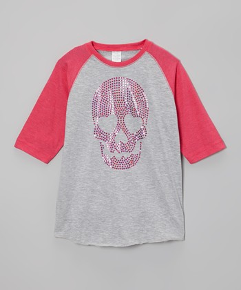 Heather & Hot Pink Sequin Skull Raglan Tee - Toddler & Girls