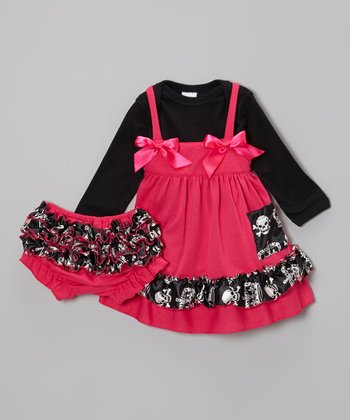 Fuchsia & Black Royal Skull Dress Set - Infant