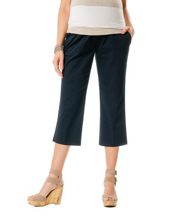 Navy Secret Fit Belly® Maternity Capri Pants