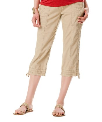 Natural Secret Fit Belly® Linen-Blend Maternity Capri Pants