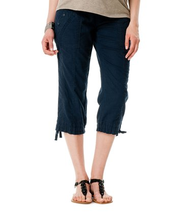 Navy Secret Fit Belly® Linen-Blend Maternity Capri Pants