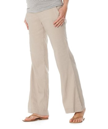 Khaki Under-Belly Linen-Blend Maternity Trousers