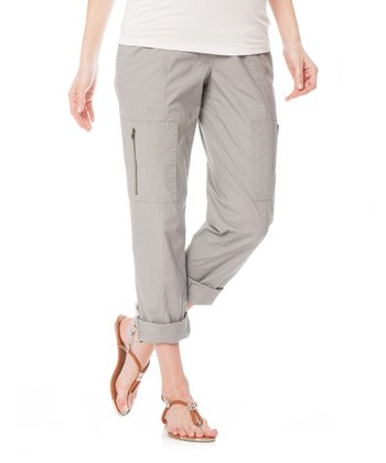 Gray Secret Fit Belly® Poplin Convertible Maternity Cargo Pants