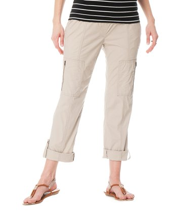 Stone Secret Fit Belly® Poplin Convertible Maternity Cargo Pants