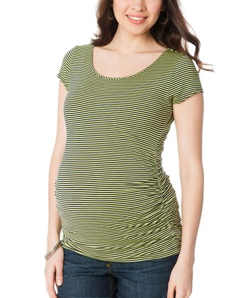 Yellow & Black Stripe Maternity Short-Sleeve Top