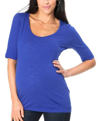 Blue Maternity Scoop Neck Top