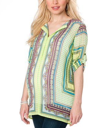 Green & Purple Paisley Roll-Tab Maternity Tunic