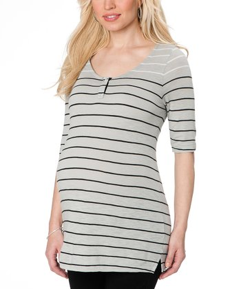 Black & Gray Stripe Maternity Henley