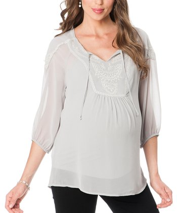 Daniel Rainn Gray Embroidered Maternity Top
